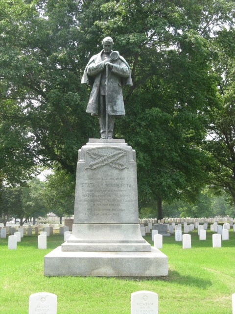 1.6.7 Minnesota  Monument, John Daniels, 1916, Little Rock National Cemetery-Front overview during assessment.
