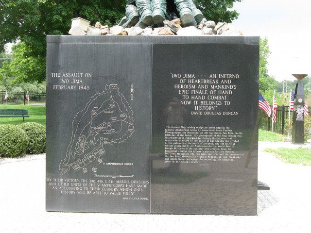 9.5.12  National Iwo Jima Memorial, Petrovics, 1995, New Britain, CT. Cleaned vs. unclened stone.