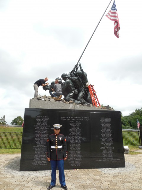 9.5.14  National Iwo Jima Memorial, Petrovics, 1995, New Britain, CT. Marine visits memorial.