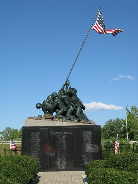 9.5.19  National Iwo Jima Memorial, Petrovics, 1995, New Britain, CT. Monument overview.