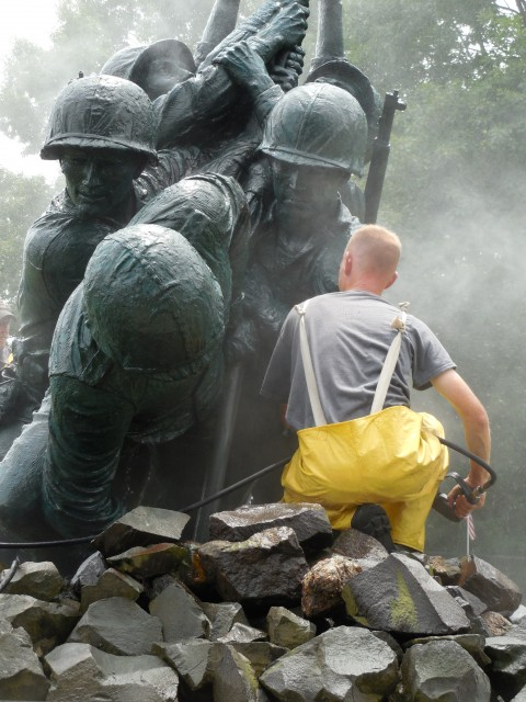 9.5.4  National Iwo Jima Memorial, Petrovics, 1995, New Britain, CT. Cleaning bronze.