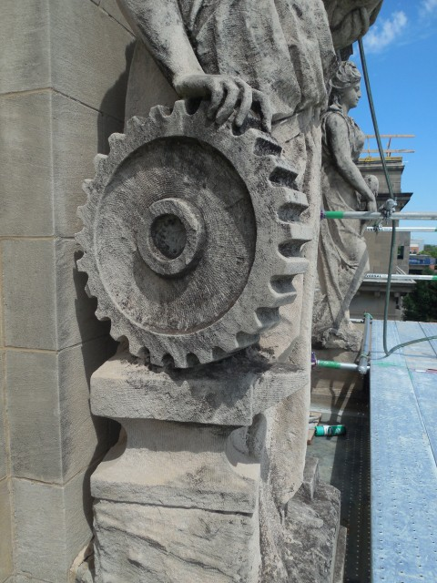 9.9.11 Marston Muses, 1900, Iowa State University, Ames.  Mechanical. Detail of gear and anvil.