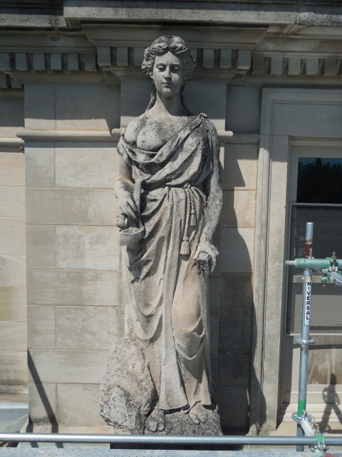 9.9.15  Marston Muses, 1900, Iowa State University, Ames.  Mining. Front overview of the sculpture.