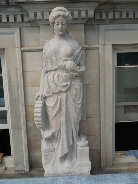 9.9.20 Marston Muses, 1900, Iowa State University, Ames.  Mechanical. Front overview of the sculpture.