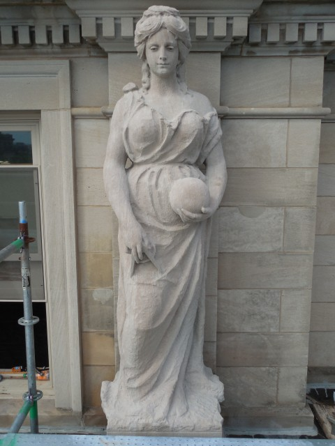 9.9.22 Marston Muses, 1900, Iowa State University, Ames.  Electrical. Front overview of the sculpture.