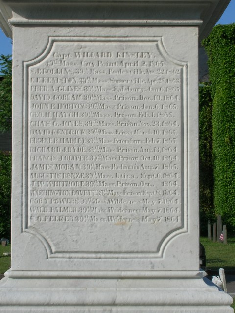 Civil War Soldiers Monument, 1863, Milk Row Cemetery, Somerville, MA.  Honor roll continued for years.