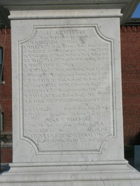 Civil War Soldiers Monument, 1863, Milk Row Cemetery, Somerville, MA.  Original honor roll when erected.