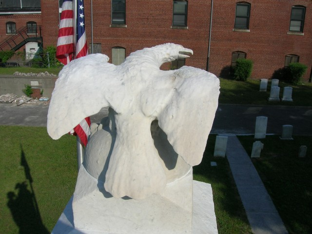 Civil War Soldiers Monument, 1863, Milk Row Cemetery, Somerville, MA.  Overview of marble eagle.