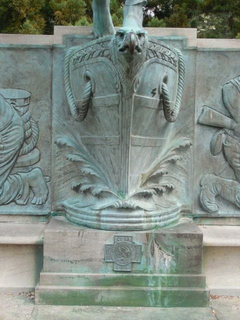 13. Spanish American War Monument, Evelyn Beatrice Longman, 1926, Hartford, CT. Ship bow and SAW Medal before treatment.