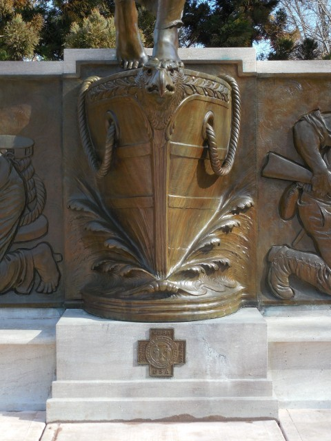 14. Spanish American War Monument, Evelyn Beatrice Longman, 1926, Hartford, CT. Ship bow and SAW medal after treatment.