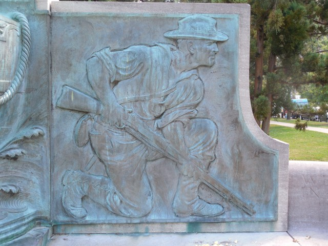 16. Spanish American War Monument, Evelyn Beatrice Longman, 1926, Hartford, CT. Proper left relief sculpture before treatment.