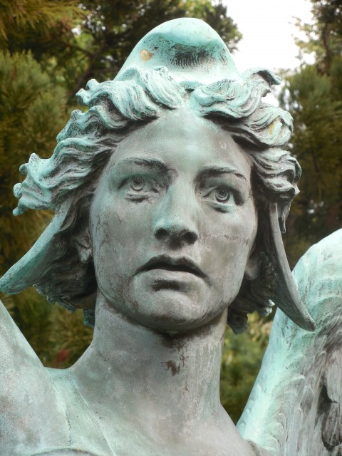 9. Spanish American War Monument, Evelyn Beatrice Longman, 1926, Hartford, CT. Detail of Spirit of Victory before treatment.