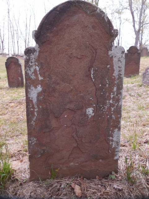 9.15.14 Colonial gravestone, Old North Buying Ground, Middlefield.  Loss of sandstone carving.