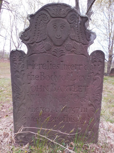 9.15.15 John Bartlet, 1757, Old North Buying Ground, Middlefield.  Overview of marker. with one of the happiest faces on a carving fro this era.