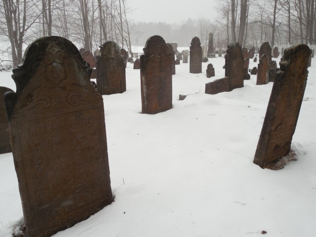 9.15.2 Old North Burying Ground, 1735,  Middlefield, CT. Overview in the winter. Fallen markers obscured by snow .