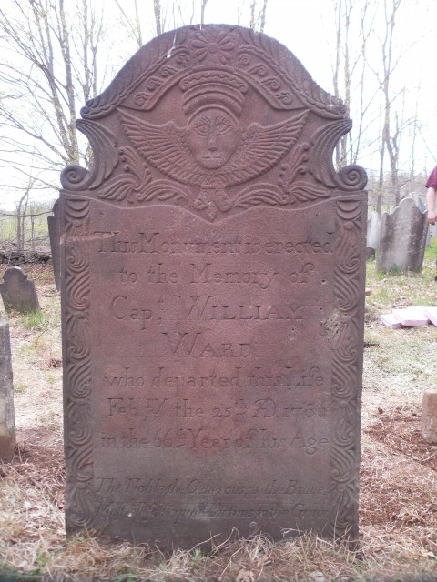 9.15.5 Captain William Ward, 1786, Old North Burying Ground, Middlefield, CT.  Reset marker.